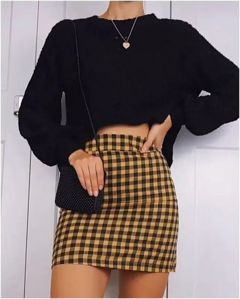 Super cute plaid skirt/sweater outfits by Tag for a chance to be featured!