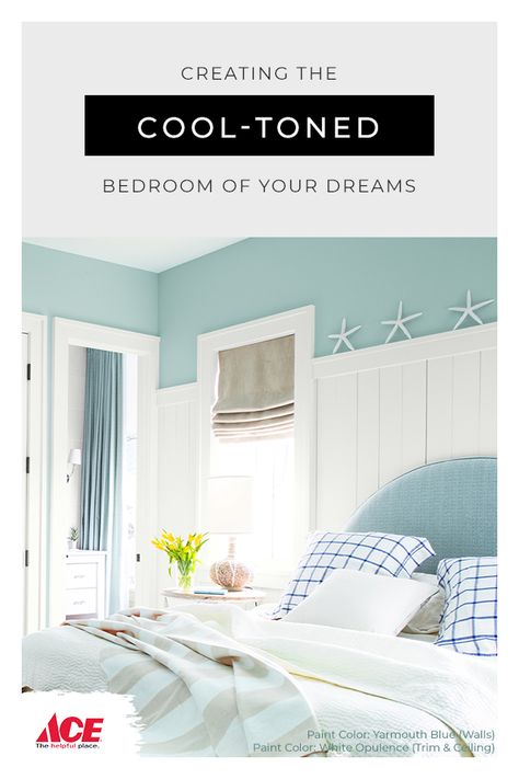 Cool-toned Benjamin Moore paint bedroom ideas to create a calm and soothing effect perfect for catching some ZZZs. Guest Bedroom Decor, Bedroom Colors, Home Bedroom, Bedroom Ideas, Master Bedroom, Bedrooms, Benjamin Moore, Paint Colors For Home, House Colors