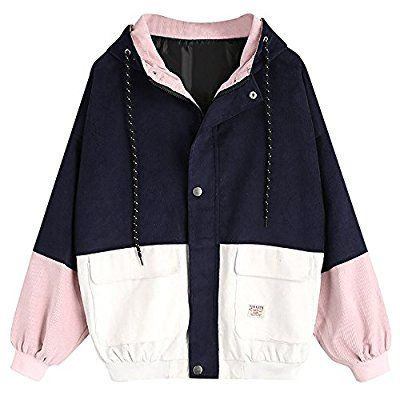 Damen Mantel, Lonshell Cord Farbe Patchwork Windbreaker