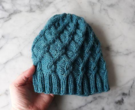 ada2640544648 Turquoise hat  handknit beanie in handspun Irish wool. Original design.  Made in Ireland. Beanie for her. Beanie for him. Cable knit beanie. by ...