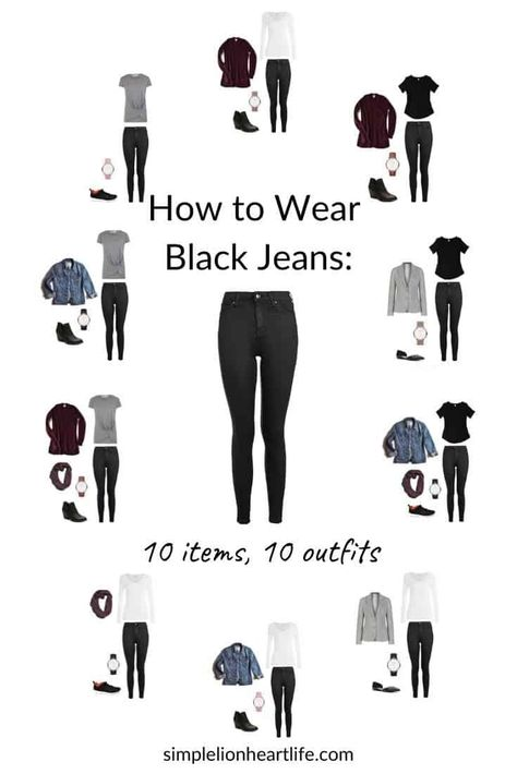 How to Wear Black Jeans: 10 items, 10 outfits - Simple Lionheart Life