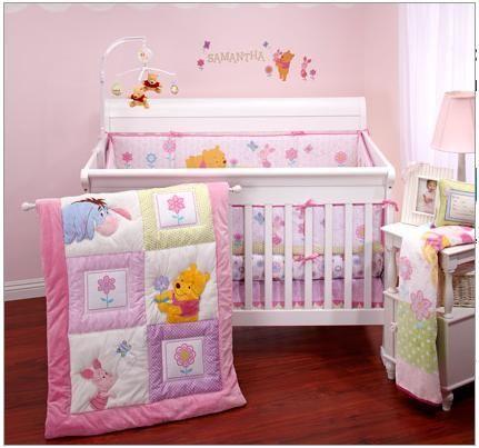 Winnie The Pooh Nursery Bedding, Pink Winnie The Pooh Baby Bedding