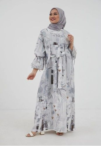 Shalwa Dress Print Grey Dari Hijabenka Abu Abu Di 2020 Baju Muslim Gaya Hijab Model Pakaian Hijab
