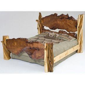 Redwood Slab Juniper Bed Rustic Bedding Rustic Bedroom