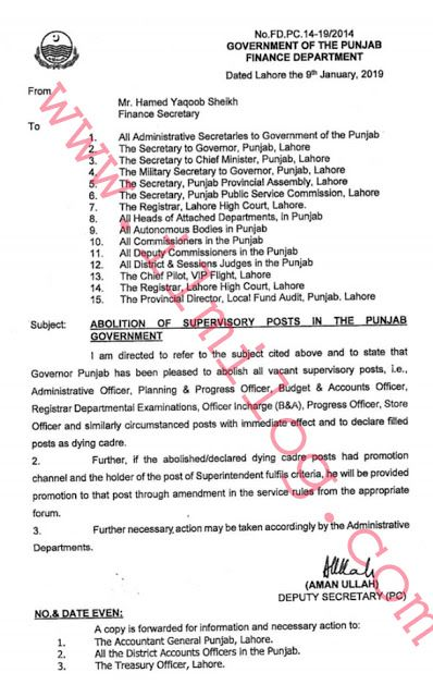 Notification No FD PC 14-19/2014 dated Lahore the 9th