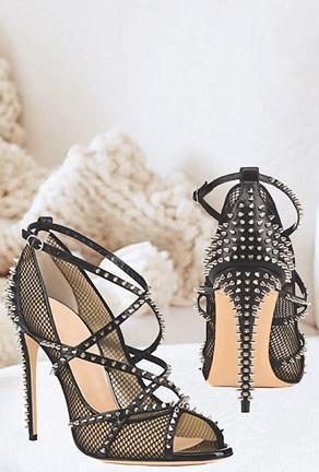 dd8ad7625f Kisha - mesh studrock heels in 2019 | Chunky Heels | High ankle ...