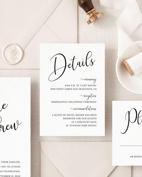 Modern wedding calligraphy DIY wedding suite Brush font calligraphy b8 Minimalist wedding invitation set Wedding invitation template kit