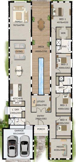 4 Bett Arbeitszimmer 2 Badhausplan Altbau Courtyard House Plans 4 Bedroom House Plans Narrow Lot House Plans