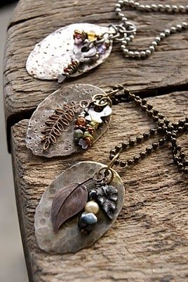 Spoon necklaces - flatten them with a hammer, cut handle off and drill a hole, add beads, charms, etc.