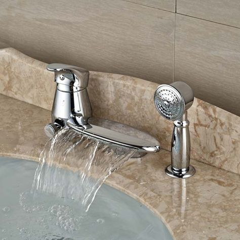 New Round Waterfall Spout Bathroom Tub Faucet W Pull Out Hand Sprayer Diverter Tap Bath Shower Mixer Taps Bath Shower Mixer Bathtub Faucet