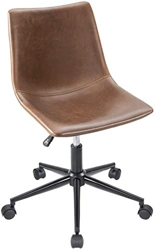 New Furmax Mid Back Task Chair Brown Leather Adjustable Swivel Office Chair Bucket Seat Armless Computer Chair