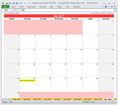 Georges Excel Calendar Year 2017 - spreadsheet templates