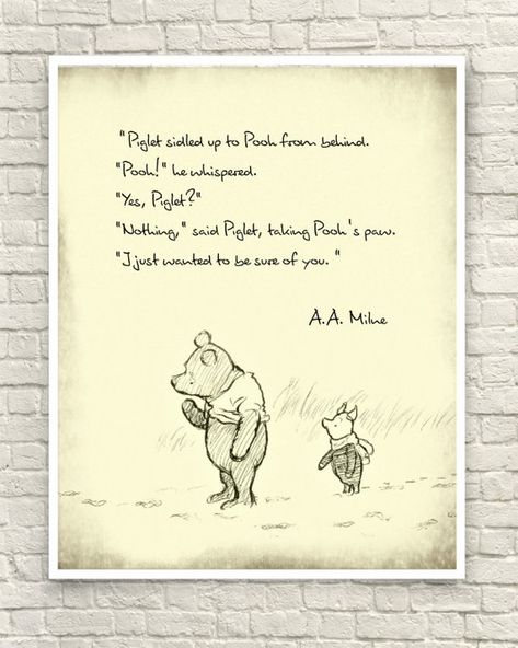This art print was created using a vintage image of an original sketch by A.A. Milne. The classic Pooh quote is in black font. Perfect for a nursery or childs room. It would also make a great gift for a Pooh lover. Sizes available: 8x10 8.5x11 11x14 (make selection at checkout)  All