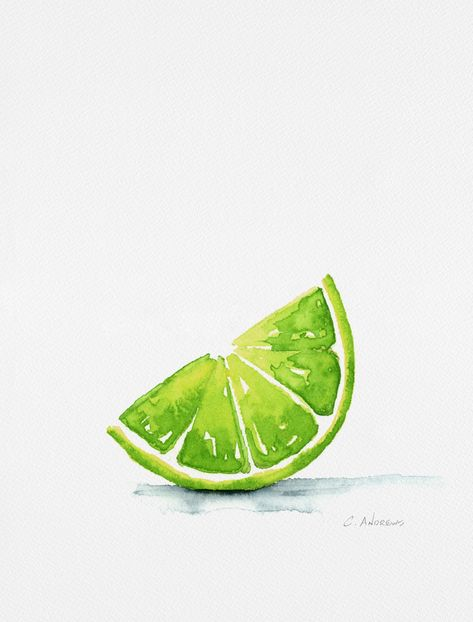 Summer Lime Art Print by Chad Andrews Watercolor - X-Small Watercolor Paintings For Beginners, Watercolor Fruit, Fruit Painting, Fruit Art, Colorful Drawings, Painting & Drawing, Pastel Drawing, Cat Drawing, Watercolor Illustration