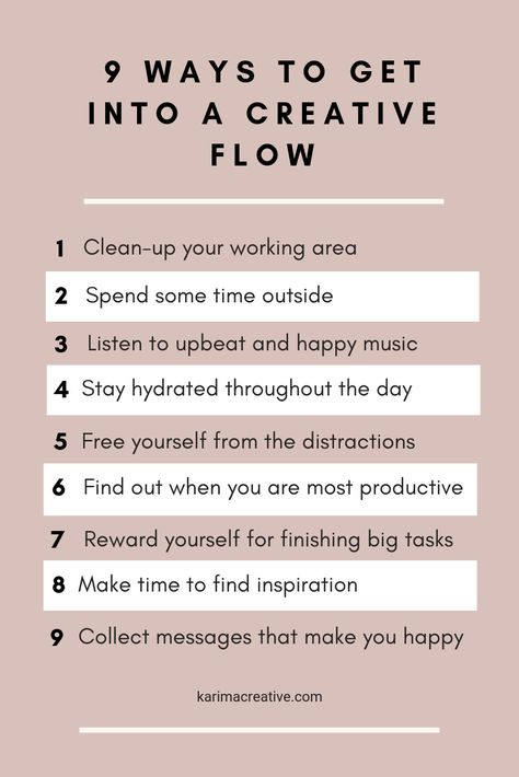 #karimacreative Do you feel stuck and without any creative energy? As a business owner and a creative, I experience this from time to time. That is when I do one of the things on the list that help me get into a creative flow. #creativeentrepreneur #businesswoman#creatives Tips for creative business owners