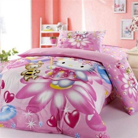 Weiche Rosa Hello Kitty Bettwäsche Und Sand Korallen Wand Farbe Für