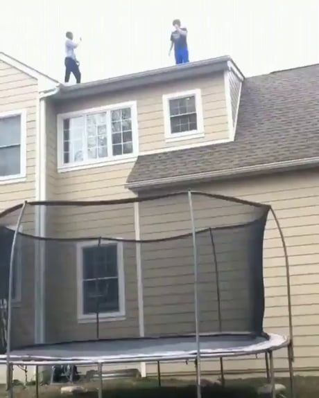 Jumping Off A Roof Onto A Trampoline In 2020 Best Funny Pictures Funny Gifs Fails Fail Video
