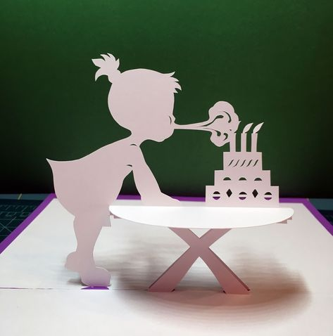 Girl With Birthday Cake Pop Up Card Template From Cahier De Kirigami 9 Pop Up Card Templates Birthday Card Pop Up Birthday Card Template