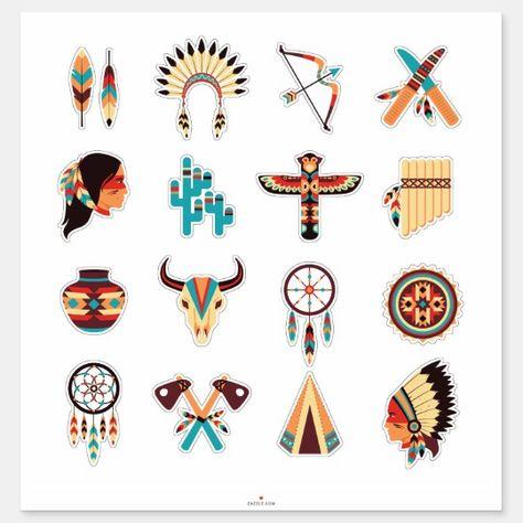 Native American Symbols Sticker | Zazzle.com