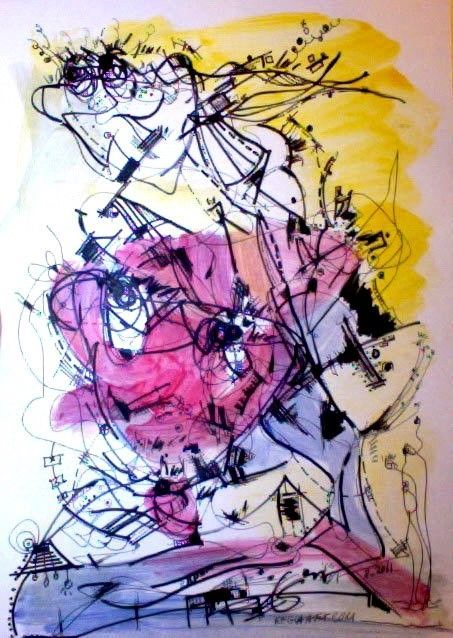 Original Abstract Art Home Decor Modern Drawing Gift Art Lover Yellow Pink Black Abstract Original Abstract Art Painting Lovers Art