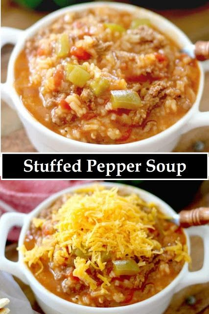 Stuffed Pepper Soup Has Sausage And Ground Beef Lots Of Tende Sweet Bell Peppers And Tomatoes Add In Rice And Serve It Hot Stuf Fun Easy Recipes Sweet Sausage Recipes Yummy