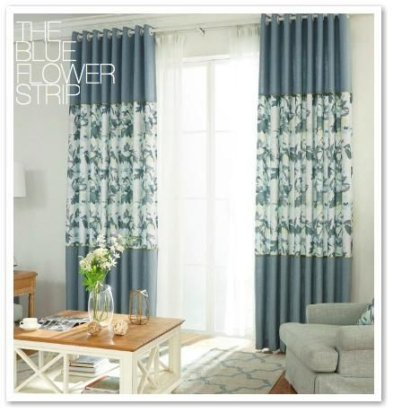 Blue Sheer Middle Flower Sheer Blackout Curtain Set Curtains