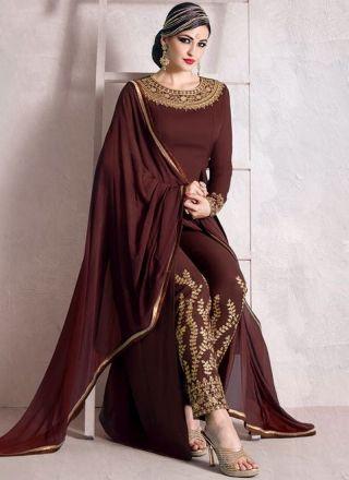 Coffee Brown Embroidery Work Moss Fancy Fabric  Designer Long Anarkali Suit http://www.angelnx.com/Salwar-Kameez