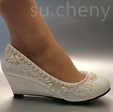 "689aa7d79ec2 2"" heel wedges lace white light ivory pearl Wedding shoes Bridal low size 5-10.5"