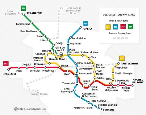 Bucharest Subway Map Harta Metrou Bucuresti Romania Official