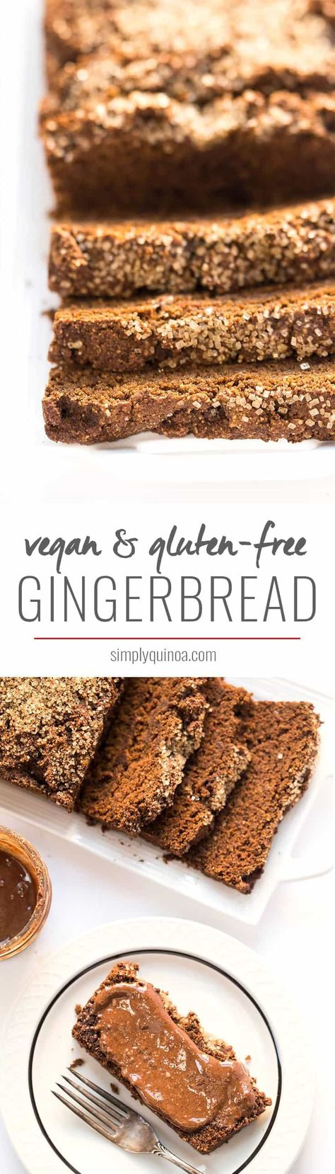 This Vegan Gingerbread Loaf is a nutritious version of this holiday treat, made without any dairy, eggs, gluten or oil. Perfect for breakfast or a snack! #vegan #gingerbread #gingerbreadloaf #christmas #christmasbaking #veganchristmas #vegandesserts #recipe #glutenfree #vegangingerbread #glutenfreeloaf #simplyquinoa #nutella