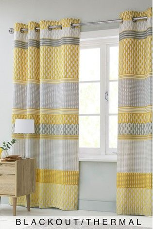 Ochre Mini Geo Stripe Curtains Thermal Curtains Curtains Curtains With Blinds