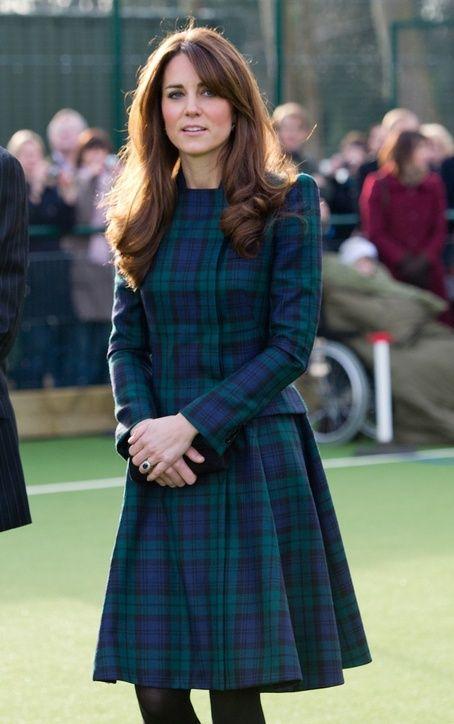 Duchess Kate Middleton in an Alexander McQueen coat dress.