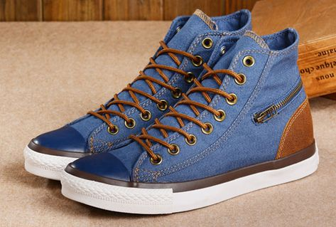 c674296ef3fb Blue Converse High Tops Jeans Denim Side Zip Chuck Taylor All Star Sneakers   converse  shoes