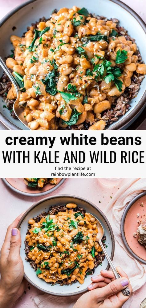 Creamy Vegan White Beans Wild Rice Bowl A flavorful creamy white bean bowl that will leave you wanting more! Filled with kale, wild rice and other easy and wholesome ingredients. Rice Recipes For Dinner, Vegetarian Recipes Dinner, Vegan Dinners, Gourmet Recipes, Whole Food Recipes, Cooking Recipes, Healthy Recipes, Weeknight Dinners, Recipes With Kale Vegan