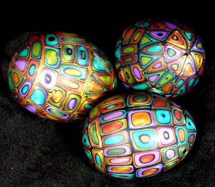 Extruded metallic clay over hollow eggs. | Flickr - Photo Sharing!