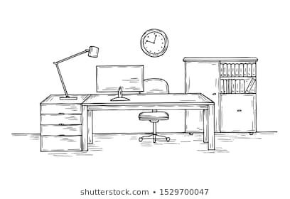 Hand Drawn Office Sketch Desk With Chair Computer And Lamp Home Officer Room Interior Vector Background Living Room In Desk Chair Computer Room Room Interior