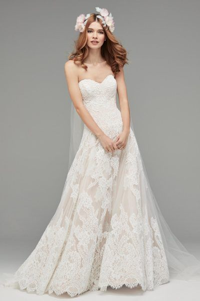Strapless Sweetheart Neckline On A Dropped Waist And Full Skirt With Lace Watters Style Lyric Watters Wedding Dress Drop Waist Gown Watters Bridal