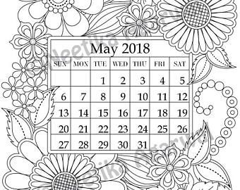 May 2018 Coloring Page Calender Planner Doodle Flowers