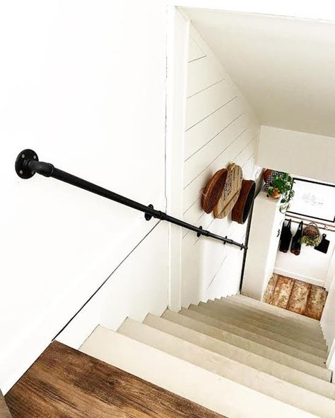 This item is unavailable Stairs, Home, Iron Handrails, Basement Makeover, Farmhouse Stairs, Stair Handrail, Industrial Handrail, Basement Living Rooms, Handrail