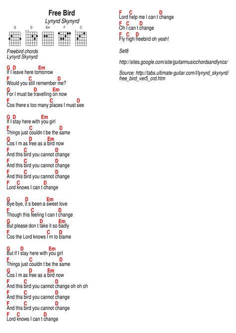 free bird guitar chords and lyrics