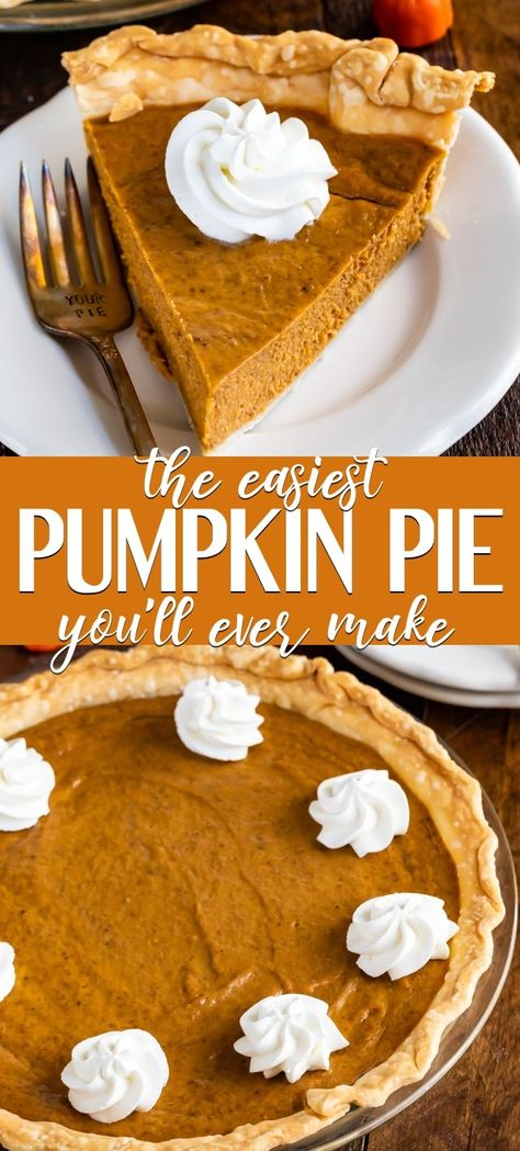 Seriously Easy Pumpkin Pie Recipe This EASY Pumpkin Pie is the best and easiest ever! It's a simple pumpkin pie recipe that's made with condensed milk and has just 6 ingredients! Basically, this is a NO FAIL pie that will be perfect every time! Pumpkin Pie Crust Recipe, Dairy Free Pumpkin Pie, Pumpkin Pie Cake, Homemade Pumpkin Pie, Pumpkin Pie Recipes, Pumpkin Dessert, Pumpkin Pies, Pumpkin Pie Recipe With Pumpkin Spice, Baking Recipes