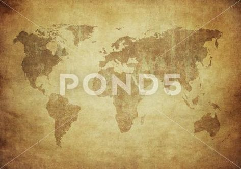 Grunge map of the world Stock Photo ~ Image #76143870
