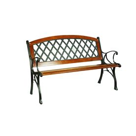 Garden Treasures 50 2 In W X 34 25 In L Brown Bench Lowes Com Patio Benches Patio Bench Furniture