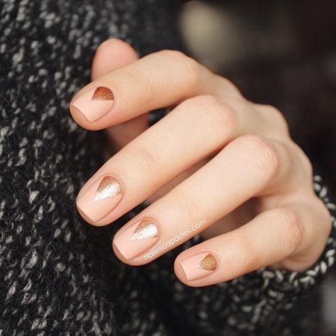 Gold and nude nail art