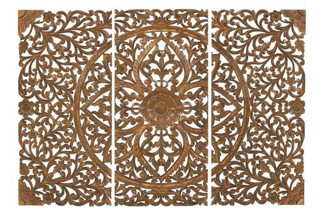 Updated Traditional Carved Wall Panels in Cherry (Set of 3) by UMA from Gardner-White Furniture