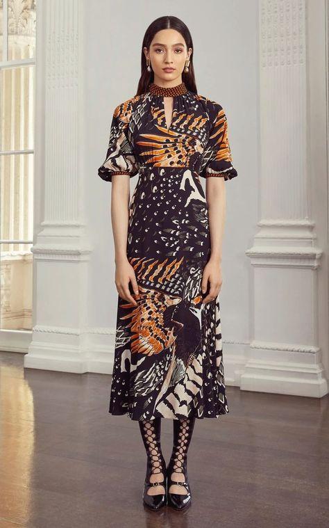 Saloni Bianca Printed Silk Midi Dress Size: 4