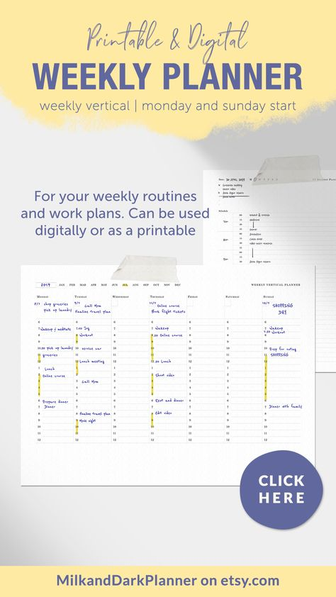 Printable and digital weekly vertical planner with hourly schedule from 6am - 12am. Start anytime with this undated planner and print only as needed #weeklyprintable #weeklyplanner #weeklyvertical #undatedplanner #weeklyoverview #functionalplanner #productivityplanner #digitalplanner #A4Letter #weeklyroutine #workplan
