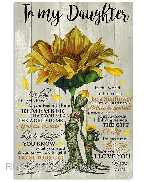 Canvas Wall ArtTo My Daughter Be a Sunflower Follow Your   Etsy
