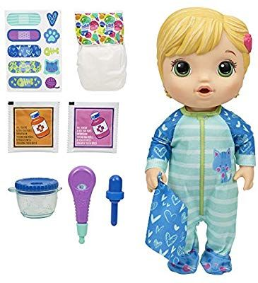 Amazon Com Baby Alive Mix My Medicine Baby Doll Kitty Cat Pajamas Drinks And Wets Doctor Accessories Blonde Hair Toy In 2020 Baby Alive Baby Dolls Baby Girl Toys