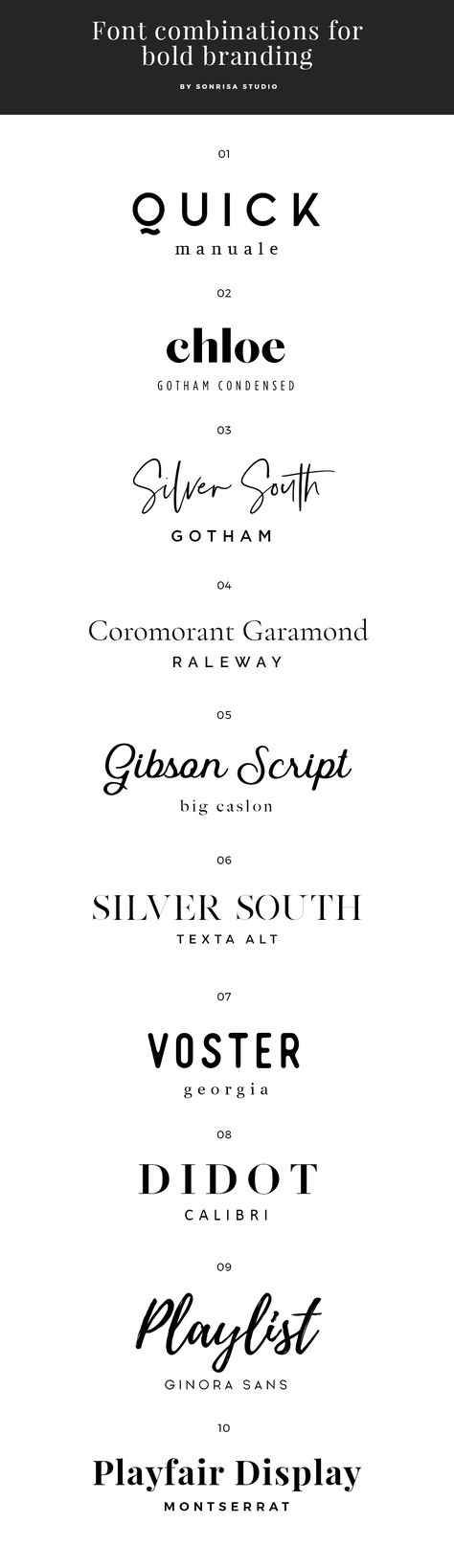 Font Combinations for branding